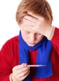 Junge mit Thermometer Lizenzfreie Stockfotografie