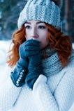 Junge Modefrau im Winterwald Stockfoto