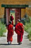Junge mongolische Mönche in Amarbayasgalant-Kloster lizenzfreie stockfotos