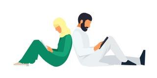 Junge moslemische Paare in einer flachen Art vektor abbildung