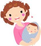 Junge Mutter, die ihr Schätzchen umarmt lizenzfreie abbildung