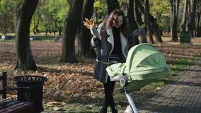 Junge Mutter, die mit einem Baby Pramspaziergänger, Wagen im Park geht stock video footage