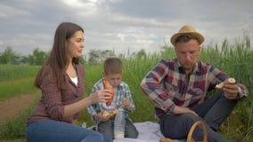 Junge Mutter mit Vater und wenig Sohn essen Apfel und Trinkmilch der Hörnchen und und stehen bei der Entspannung an in Verbindung stock footage