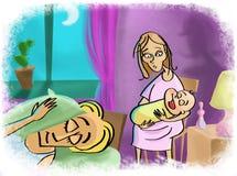 Junge Mutter schaukelt ein Kind nachts Stockbild