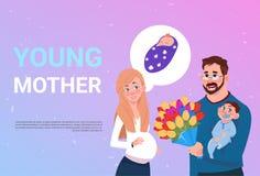 Junge Mutter-schwangere Frau mit dem Ehemann, der Blumen und kleinen Sohn über Hintergrund mit Kopien-Raum hält vektor abbildung