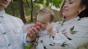 Junge Mutter und Vati füttern Babys im Park auf ihren Händen mit der Flasche stock footage