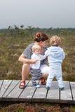 Junge Mutter und zwei kleine Jungen im Sommernaturpark Lizenzfreie Stockbilder