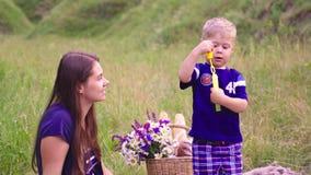 Junge nette Mutter, die Spaß mit Sohn auf dem Picknick hat stock footage