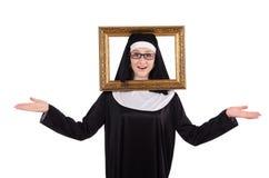 Junge Nonne mit dem Rahmen lokalisiert Lizenzfreie Stockfotografie