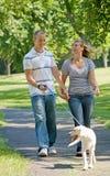 Junge Paar-gehender Hund Lizenzfreie Stockfotografie