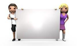 Junge Paare 3D, die großes unbelegtes Zeichen anhalten Stockbild