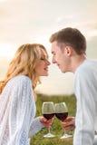 Junge Paare auf einem Picknick lizenzfreie stockfotos