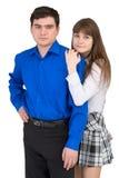 Junge Paare auf einem weißen Hintergrund Lizenzfreies Stockbild