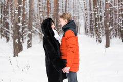 Junge Paare auf Winter-Ferien Stockbilder