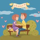 Junge Paare in der Liebe, die zusammen auf der Bank im Park, Valentinsgrußtageskarte mit romantischem Paarvektor sitzt lizenzfreie abbildung