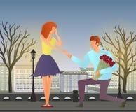 Junge Paare in der Liebe Mann und Frau auf einem romantischen Datum in der Straße der alten Stadt Auch im corel abgehobenen Betra stock abbildung