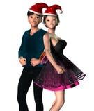 junge Paare des Weihnachten3d Lizenzfreie Stockbilder