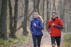 Junge Paare, die auf der Spur im wilden Wald laufen Stockfotografie