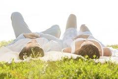 Junge Paare, die auf Picknickdecke im Park liegen Stockbilder