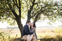 Junge Paare, die bei Herbstsonnenuntergang umarmen Stockbild
