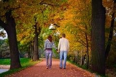Junge Paare, die in den Garten gehen stockfotografie