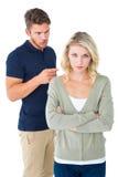 Junge Paare, die ein Argument haben Stockbild