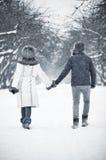 Junge Paare, die in einen Park gehen Lizenzfreie Stockfotos