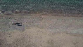Junge Paare, die entlang Küste am Sommertag im Freien gehen stock footage