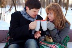 Junge Paare, die im Winterpark sich wärmen Lizenzfreie Stockfotografie