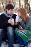 Junge Paare, die im Winterpark sich wärmen Stockbild