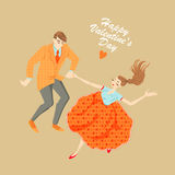 Junge Paare, die lindy Hopfen tanzen Stockfotografie