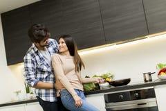 Junge Paare, die Mahlzeit vorbereiten Lizenzfreies Stockbild