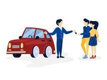 Junge Paare, die rotes Auto kaufen vektor abbildung