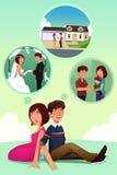 Junge Paare, die sich zusammen ihr Leben vorstellen Stockfoto
