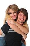 Junge Paare, die Spaß und das Lächeln haben Lizenzfreie Stockfotos