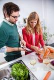 Junge Paare, die zusammen kochen Lizenzfreie Stockfotografie