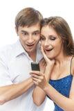 Junge Paare mit überrascht Lizenzfreie Stockfotografie
