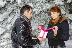 Junge Paare mit Geschenkkasten Lizenzfreie Stockfotos