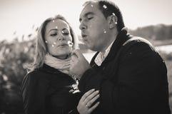 Junge Paare mit Löwenzahn stockfotos