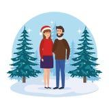 Junge Paare mit Winterkleidung in der Landschaft vektor abbildung