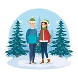 Junge Paare mit Winterkleidung in der Landschaft lizenzfreie abbildung