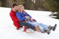 Junge Paare Sledding Stockfotos
