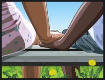 Junge Paarholdinghände Lizenzfreie Stockbilder