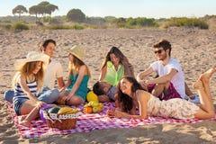 Junge Parteileute, die erfreuliches Picknick auf dem Strand haben Stockfotografie