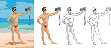 Junge photographes des gutaussehenden Mannes selbst auf dem Strand Lizenzfreie Stockfotos