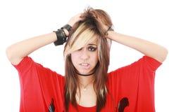 Junge Punkfrau in der Verzweiflungsgeste lizenzfreies stockbild