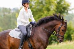 Junge Reiterfrau, die auf Braune auf Wiese galoppiert Lizenzfreie Stockbilder