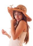 Junge reizvolle Frau im Weinlesehut getrennt Stockbilder