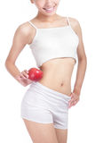 Junge reizvolle Frauenkarosserie und roter Apfel Lizenzfreies Stockbild