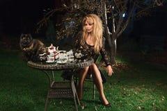 Junge reizvolle Hexe und schwarze Katze Stockbild